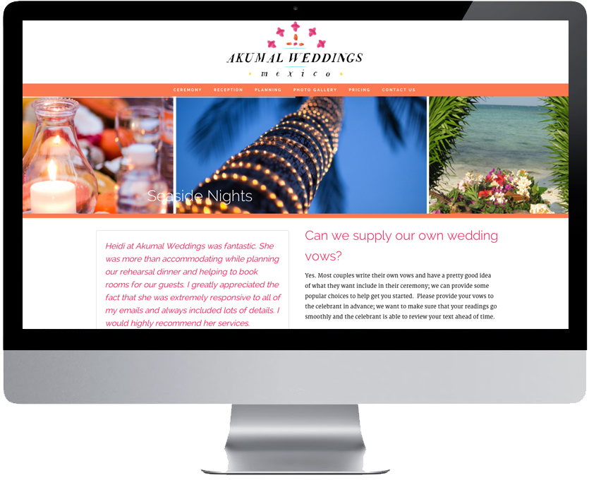 Website Design - Custom WordPress - Akumal Weddings - Website Design - Mexico - Think All Day