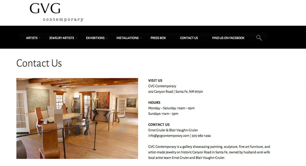 Website Design - Custom WordPress - GVG Contemporary Art Gallery - Website Design - Santa Fe, NM - Think All Day